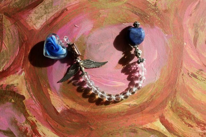 Sacred Heart Angel Pendulum ~ sodalite, sterling,crystal glass beads, copper bead, pewter angel wings