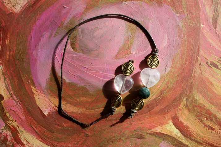 Rose Quartz Hearts, Spirals, Fancy Jasper & Leather